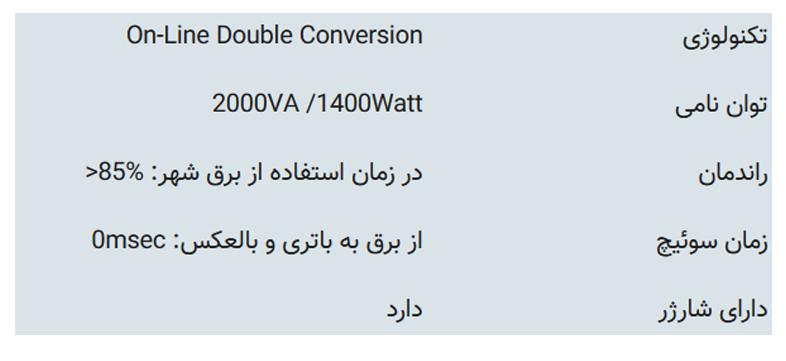 مشخصات فنی یو پی اسFaratel SDC 2000S-RT:
