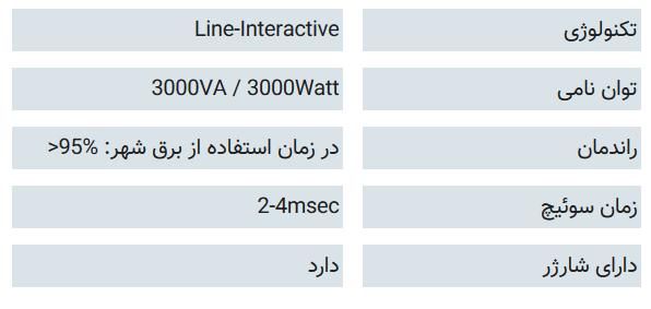 مشخصات فنی DsS 3000X-RT UPS: