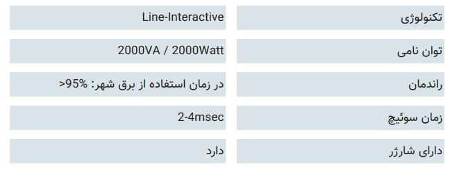 مشخصات فنی یو پی اس فاراتل DSS 2000X-RT: