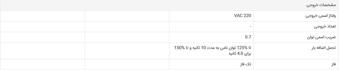 مشخصات خروجی UPS فاراتل CAD 10KX1-RT4U